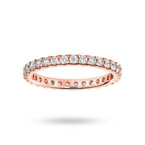 18 Carat Rose Gold 0.75 Carat Brilliant Cut Claw Set Full Eternity Ring