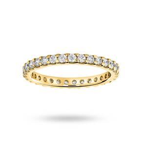 9 Carat Yellow Gold 0.75 Carat Brilliant Cut Claw Set Full Eternity Ring