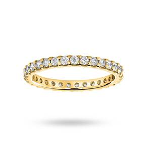9 Carat Yellow Gold 0.75 Carat Brilliant Cut Claw Set Full Eternity Ring