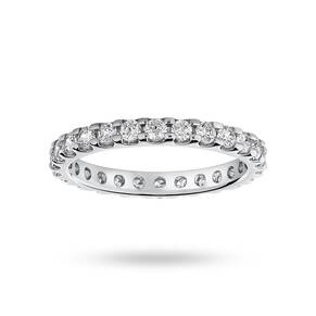 9 Carat White Gold 1.00 Carat Brilliant Cut Claw Set Full Eternity Ring