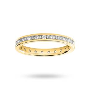 18 Carat Yellow Gold 0.50 Carat Dot Dash Channel Set Full Eternity Ring