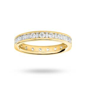 9 Carat Yellow Gold 1.00 Carat Dot Dash Channel Set Full Eternity Ring