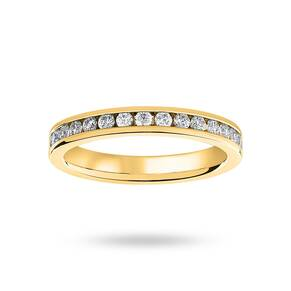 9 Carat Yellow Gold 0.75 Carat Brilliant Cut Channel Set Full Eternity Ring
