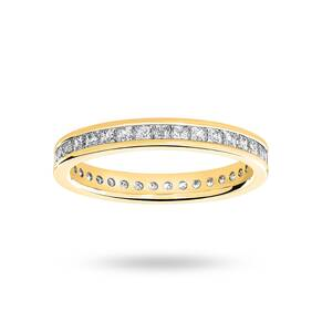 18 Carat Yellow Gold 1.00 Carat Princess Cut Channel Set Full Eternity Ring