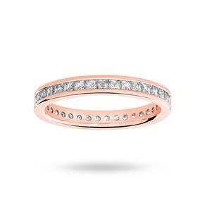 9 Carat Rose Gold 1.00 Carat Princess Cut Channel Set Full Eternity Ring