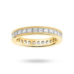18 Carat Yellow Gold 2.00 Carat Princess Cut Channel Set Full Eternity Ring