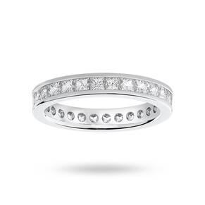 9 Carat White Gold 2.00 Carat Princess Cut Channel Set Full Eternity Ring