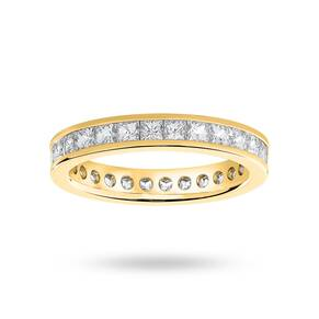 9 Carat Yellow Gold 2.00 Carat Princess Cut Channel Set Full Eternity Ring