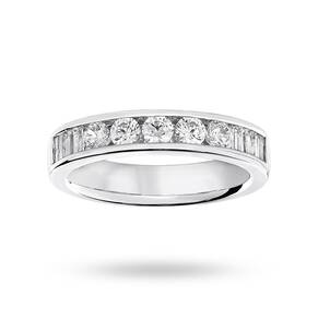 9 Carat White Gold 0.75 Carat Brilliant Cut and Baguette ...