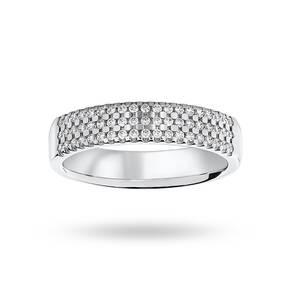 Platinum 0.29 Carat Brilliant Cut 3 Row Claw Set Half Eternity Ring