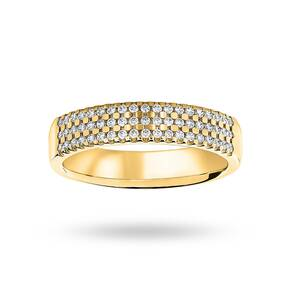 18 Carat Yellow Gold 0.29 Carat Brilliant Cut 3 Row Claw Set Half Eternity Ring