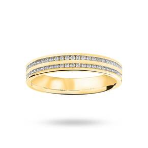 9 Carat Yellow Gold 0.28 Carat Brilliant Cut 2 Row Channe ...