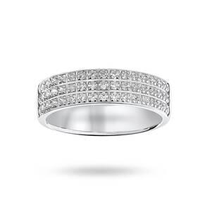 Platinum 0.50 Carat Brilliant Cut 3 Row Claw Pave Half Eternity Ring