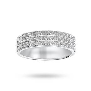 18 Carat White Gold 0.50 Carat Brilliant Cut 3 Row Claw Pave Half Eternity Ring