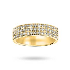 18 Carat Yellow Gold 0.50 Carat Brilliant Cut 3 Row Claw Pave Half Eternity Ring