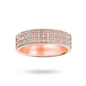 9 Carat Rose Gold 0.50 Carat Brilliant Cut 3 Row Claw Pave Half Eternity Ring
