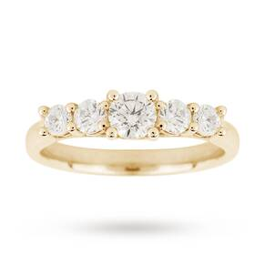 18ct Yellow Gold 0.70ct Diamond 5 Stone Eternity D Colour Ring - Ring Size K