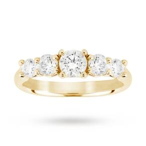 18ct Yellow Gold 1.00ct Diamond 5 Stone Eternity D Colour Ring - Ring Size K