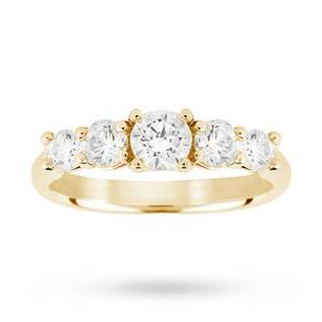 18ct Yellow Gold 1.50ct Diamond 5 Stone Eternity D Colour Ring - Ring Size K