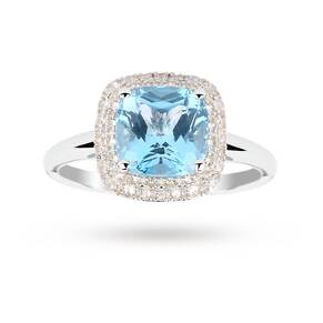 Blue Topaz and White Sapphire Ring in 9 Carat White Gold - Ring Size K