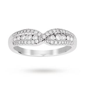 18ct White Gold 0.40 Total Carat Weight Diamond Halo Shaped Band