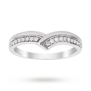 9ct White Gold 0.15 Total Carat Weight Diamond Set Shaped Band