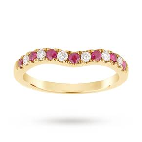 9ct Yellow Gold Ruby and 0.18 Total Carat Weight Diamond Shaped Wedding Ring