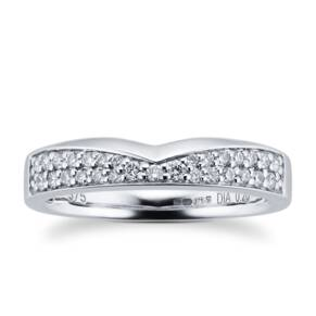 9ct White Gold 0.20 Total Carat Weight Diamond Set Shaped Band
