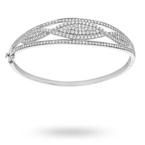 Silver Cubic Zirconia Marquise Bangle