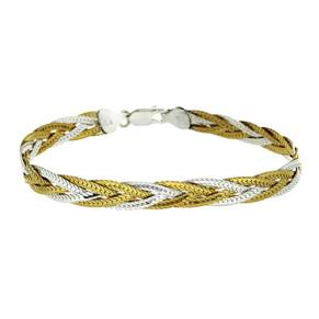 Silver And Yellow Gold Plated Plait Bracelet