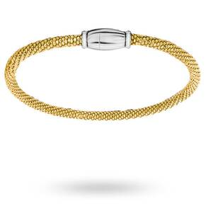 Silver Yellow Gold Plated Popcorn Bracelet