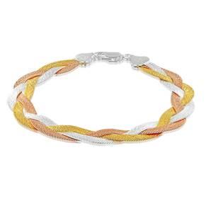 Silver Three Colour Plait Bracelet