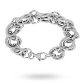 Silver Texture Rings Bracelet