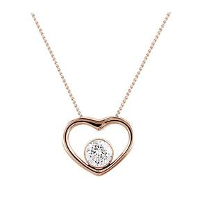 9ct Rose Gold 0.20ct Floating Diamond Set Heart Pendant