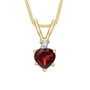 9ct Yellow Gold Heart Garnet And 0.02ct Diamond Pendant