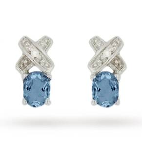 9ct White Gold Diamond and Aquamarine Kiss Stud Earrings