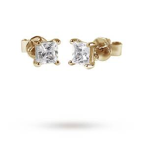 9ct Yellow Gold 0.15ct Princess Cut Stud Earrings