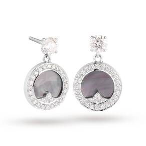 Treasure Empress Grey Mother of Pearl Drop Earrings in 18ct White Gold