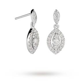 18ct White Gold 0.33ct Diamond Marquise Drop Earrings
