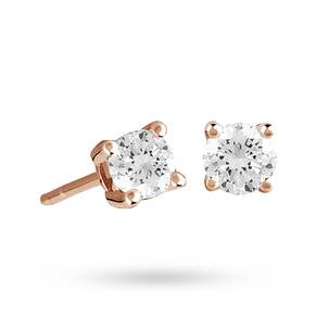 9ct Rose Gold 0.25ct 4 Claw Diamond Earrings