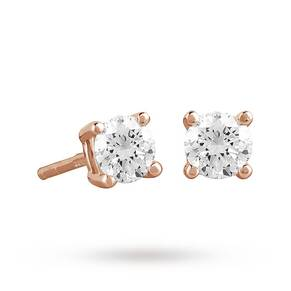 9ct Rose Gold 0.40ct 4 Claw Diamond Earrings