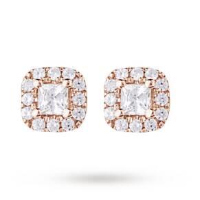 9ct Rose Gold 0.20ct Princess Cut Diamond Stud Earrings