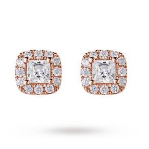 9ct Rose Gold 0.30ct Princess Cut Diamond Stud Earrings