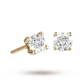 9ct Yellow Gold 0.25ct 4 Claw Diamond Earrings