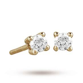 9ct Yellow Gold 0.15ct 4 Claw Diamond Earrings