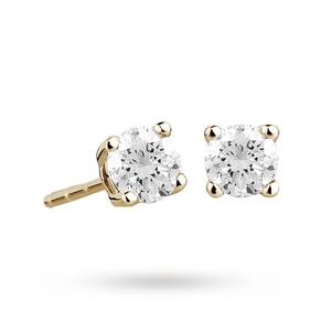 9ct Yellow Gold 0.33ct 4 Claw Diamond Earrings