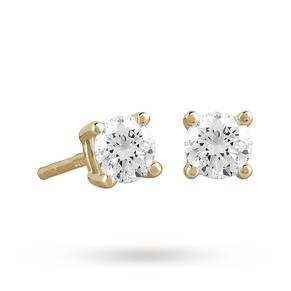 9ct Yellow Gold 0.40ct 4 Claw Diamond Earrings