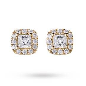 9ct Yellow Gold 0.30ct Diamond Claw Halo Stud Earrings