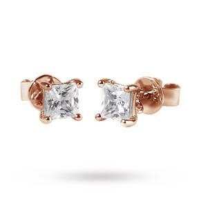 9ct Rose Gold 0.25ct Princess Cut Stud Earrings