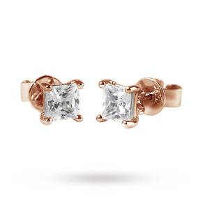 9ct Rose Gold 0.50ct Princess Cut Stud Earrings